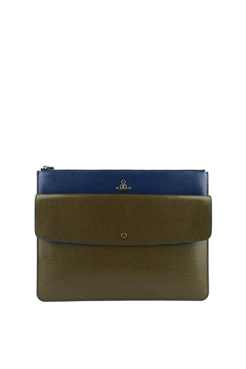 韩际新世界网上免税店-维维安.韦斯特伍德-女士箱包-KENT POUCH BLUE/GREEN 手拿包