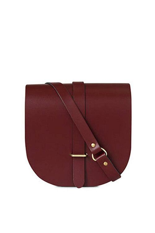 韩际新世界网上免税店-Cambridge Satchel-女士箱包-Mini Sadle Bag 酒红棕色牛皮斜挎单肩包