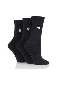 韩际新世界网上免税店-SOCKSHOP-时尚配饰-LADIES 3 PAIR EMBROIDERED SOCKS - Arctic 女士袜子3件套装