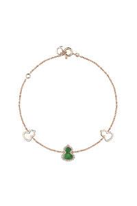 韩际新世界网上免税店-QEELIN-首饰-Petite Wulu Bracelet in 18K Rose Gold with diamonds and Jade 手链