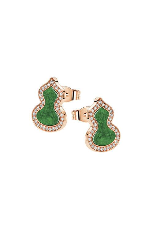 韩际新世界网上免税店-QEELIN-首饰-Petite Wulu Ear studs in 18K rose gold with diamonds and Jade 耳饰