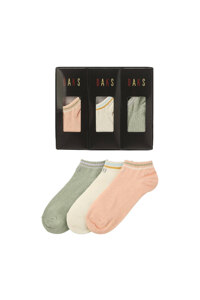 신세계인터넷면세점-닥스--DBSS1E332WT 여성 화이트 라인배색 면혼방 발목양말3종세트