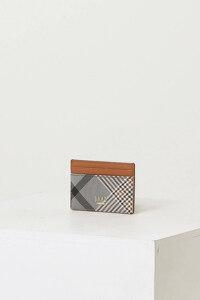 신세계인터넷면세점-닥스-지갑-DCHO1E320W2 브라운 체크배색 가죽 카드지갑