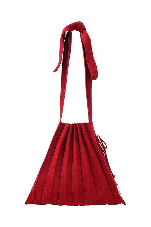 韩际新世界网上免税店-JOSEPH&STACEY-女士箱包-Lucky Pleats Knit M Half & Half Crimson Red 单肩包