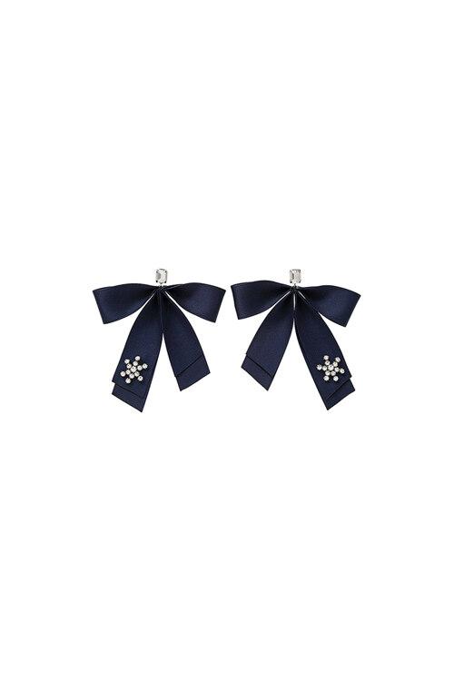 신세계인터넷면세점-엠주--Holiday Satin Ribbon Earrings NAVY