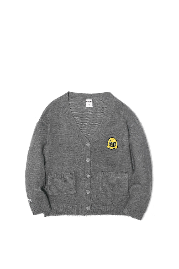 GHOST PATCHED MOHAIR CARDIGAN HEATHER GREY L