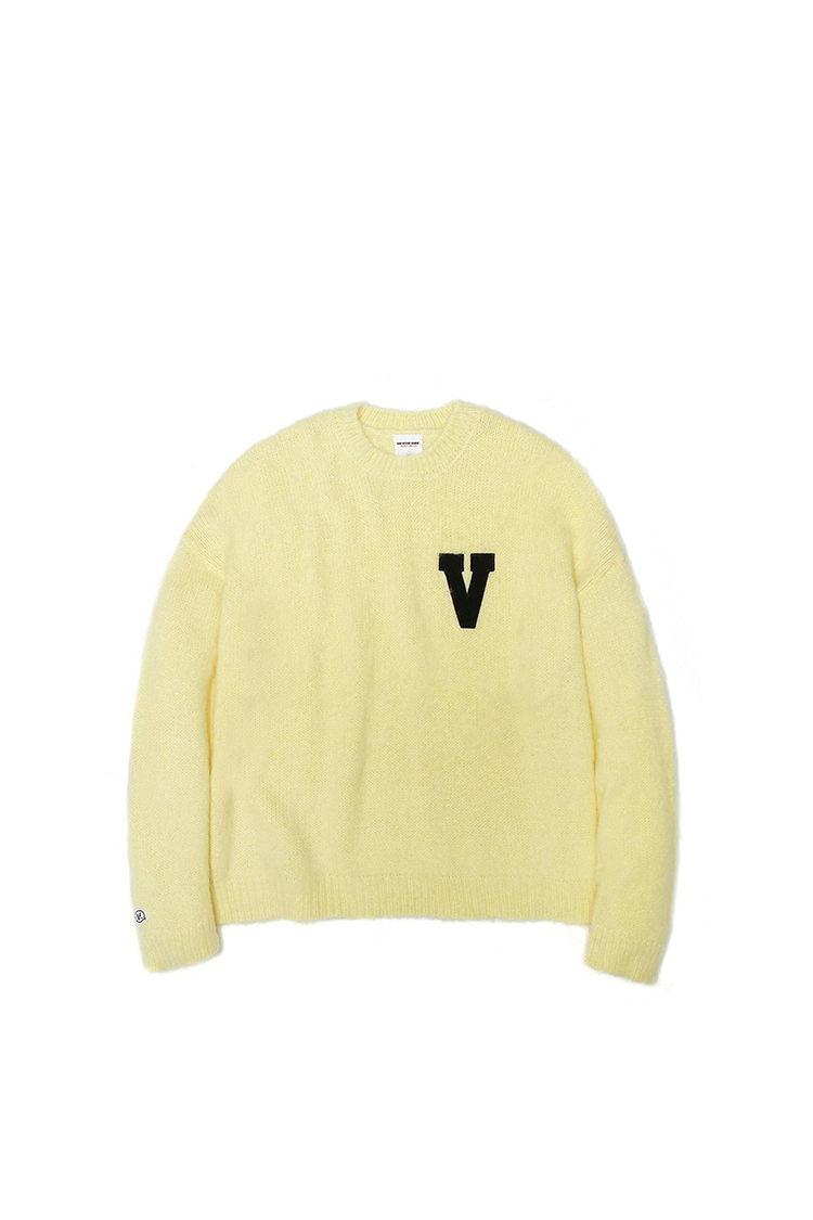 LOGO PATCHED MOHAIR CROPPED KNIT SWEATER LIME M