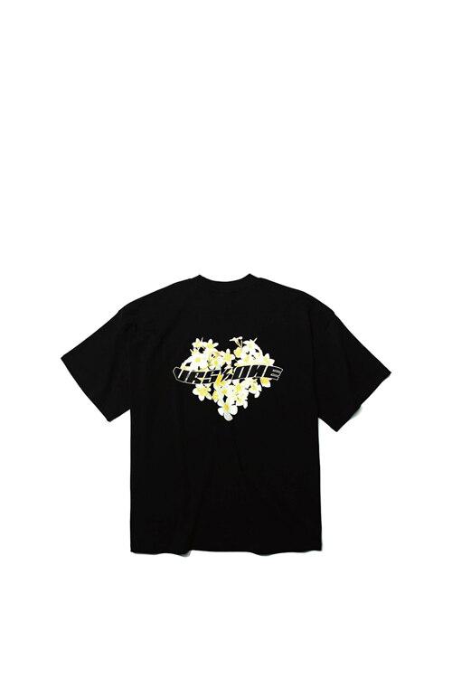 韩际新世界网上免税店-VERSEONE-服饰-PLUMERIA LOGO PRINTED T-SHIRT BLACK T恤