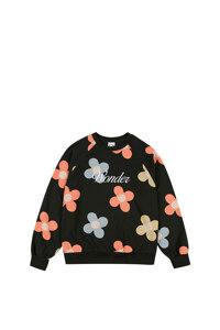 韩际新世界网上免税店-WONDER VISITOR-服饰-Flower pattern sweat-shirt  [black] 上衣