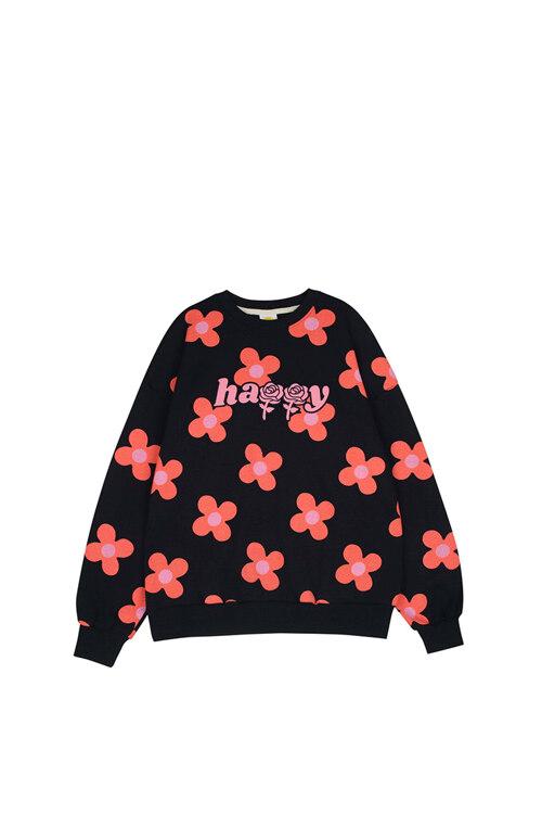 韩际新世界网上免税店-WONDER VISITOR-服饰-Pink flower pattern Sweat-shirt [Navy] 上衣