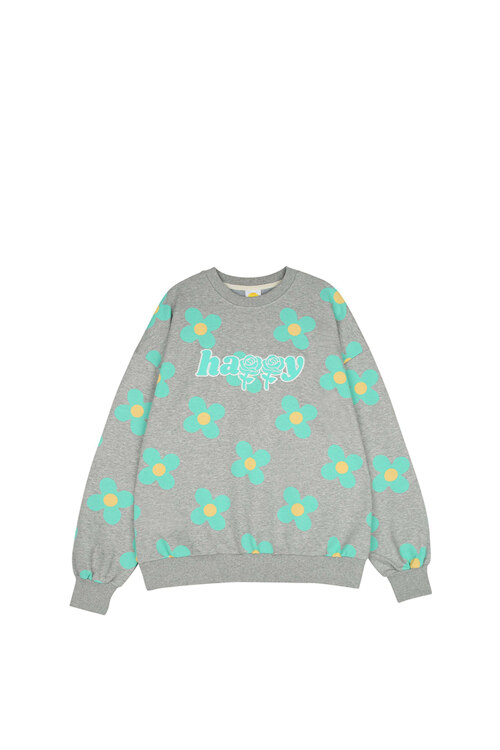 韩际新世界网上免税店-WONDER VISITOR-服饰-Green flower pattern Sweat-shirt [Melange grey] 上衣