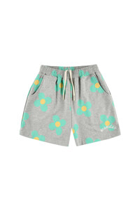 韩际新世界网上免税店-WONDER VISITOR-服饰-Green flower pattern Shorts  [Melange grey] 短裤