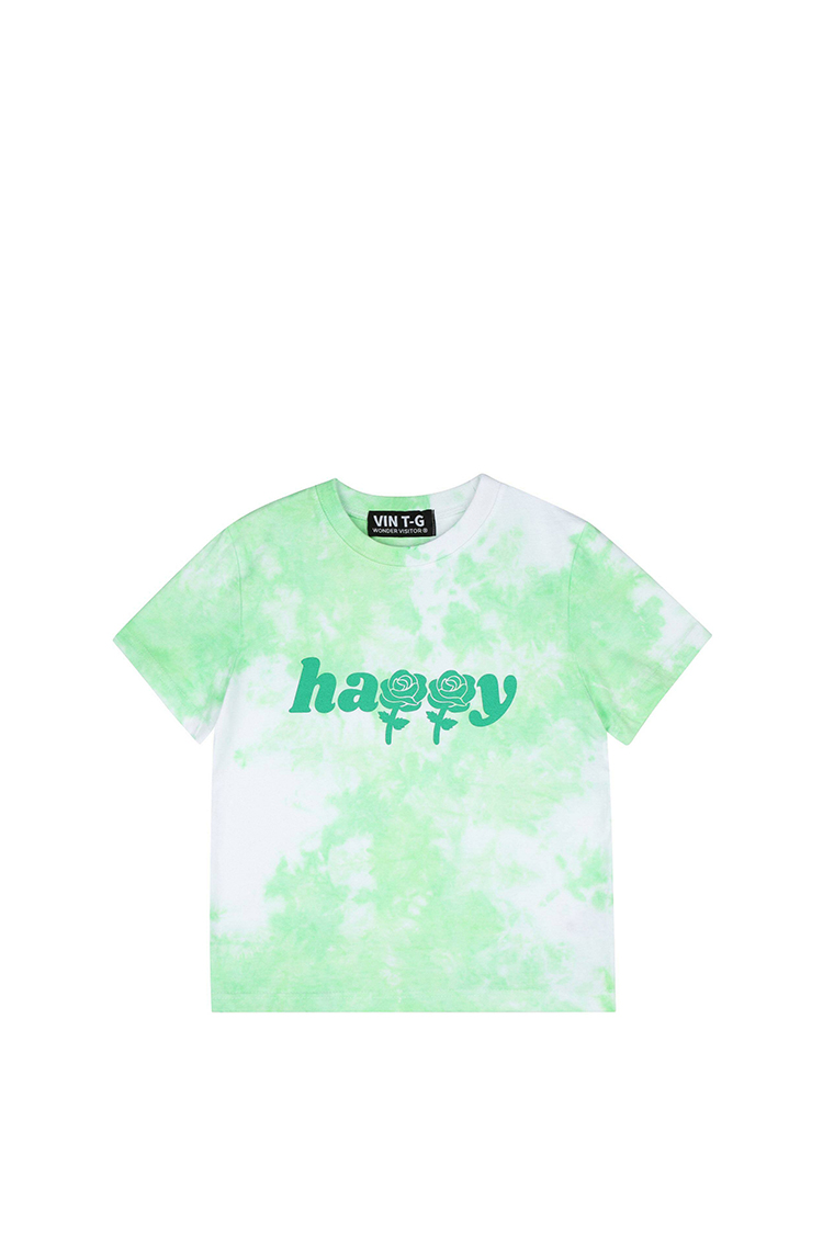 Happy tied-dying crop T shirts [Green] T恤