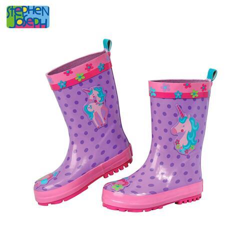SJ RAINBOOTS  UNICORN SZ 8 (S17) 儿童雨靴
