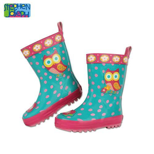 SJ RAINBOOTS  OWL SZ 11 (S14) 儿童雨靴