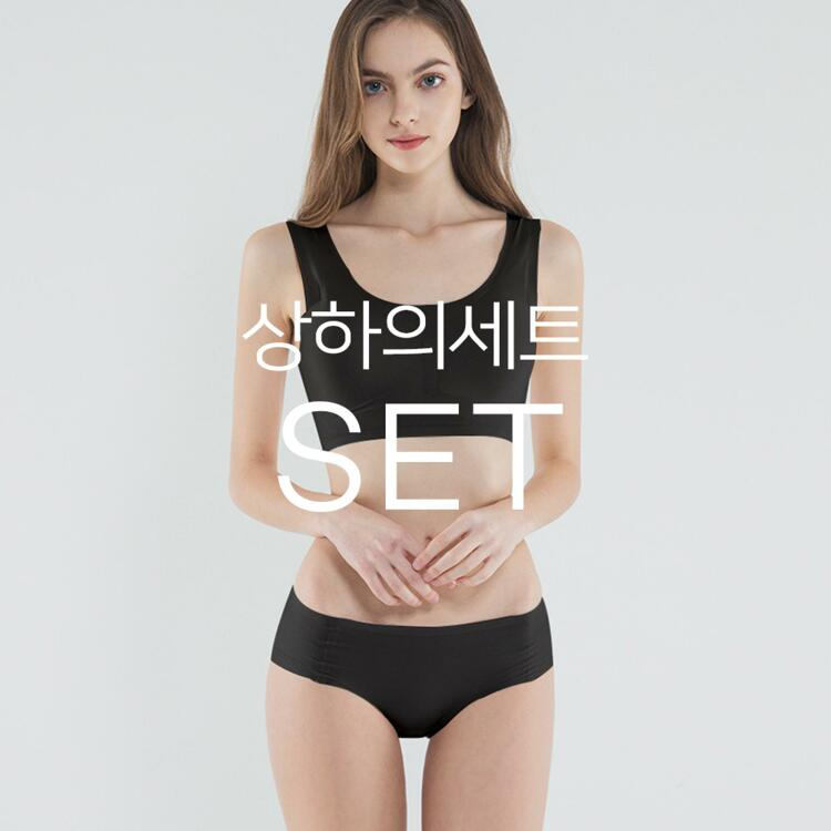 韩际新世界网上免税店-SKULLPIG-运动休闲-无缝制 AIRY 上下套装_Black_M