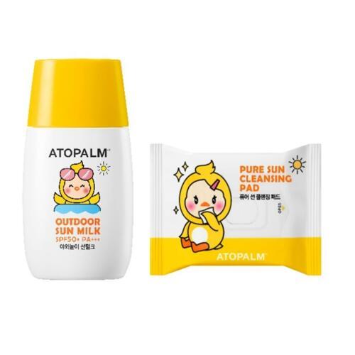 韩际新世界网上免税店-爱多康--NEW ATOPALM OUTDOOR SUN MILK 儿童防晒乳 55g (2020, 企划套装)