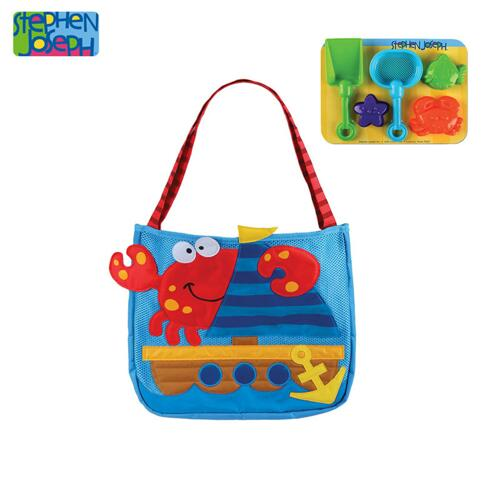 SJ BEACH TOTES (w/sand toy play set) CRAB  (S17)