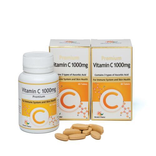 韩际新世界网上免税店-NATURES FAMILY-VITAMIN-[保质期临近2021-12]Premium Vitamin C 1000mg 60 x 2